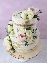 """Торт """"голый"""" с живыми цветами 2 яруса"""
